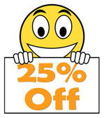Twenty Five Percent Sign Shows Sale Discount Or 25 Off — Stock Photo