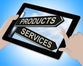 Products Services Tablet Shows Business Merchandise And Service — Stock Photo