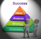 Success Pyramid Shows Accomplishment Progress And Successful — Stock Photo