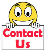 Contact Us On Sign Shows Communicate Online — Stock Photo