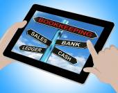 Bookkeeping Tablet Means Sales Ledger Bank And Cash — Stock Photo