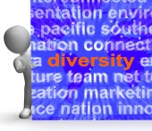 Diversity Word Cloud Sign Shows Multicultural Diverse Culture — Stock Photo