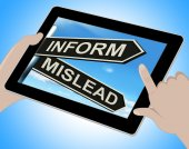 Inform Mislead Tablet Means Advise Or Misinform — Stock Photo