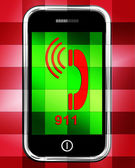 Nine One On Phone Displays Call Emergency Help Rescue 911 — Stock Photo