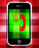 Nine One On Phone Displays Call Emergency Help Rescue 911 — Stock Photo