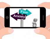 Fear Anxiety Signpost Displays Fears And Panic — Stock Photo