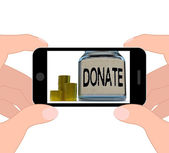 Donate Jar Displays Fundraising Charity And Contributions — Stock Photo