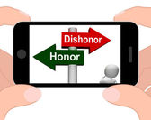 Dishonor Honor Signpost Displays Integrity And Morals — Stock Photo