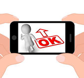 Okay And 3D Character Displays O.K. Ok All Right Agree — Stock Photo