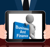 Character With Business And Finance Book Displays Businesses Fin — Stock Photo
