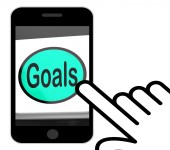 Goals Button Displays Aims Objectives Or Aspirations — Stock Photo