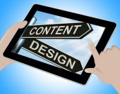 Content Design Tablet Means Message And Graphics — Stock Photo
