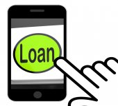 Loan Button Displays Lending Or Providing Advance — Stock Photo