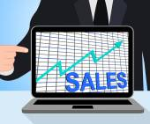 Sales Chart Graph Displays Increasing Profits Trade — Foto de Stock