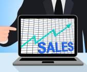 Sales Chart Graph Displays Increasing Profits Trade — Foto de Stock