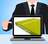 History Book Laptop Shows Books About The Past — Stock Photo