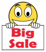 Big Sale On Sign Shows Promotional Savings Save Or Discounts — Foto de Stock