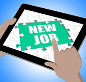 New Job Tablet Shows Changing Jobs Or Employment — Stock Photo