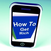 How to Get Rich on Phone Represents Getting Wealthy — Stock Photo