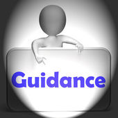Guidance Sign Displays Instruction Direction And Support — Stock Photo