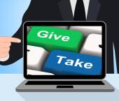 Give Take Computer Show Generous And Selfish — Stock Photo