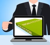 Non Fiction Book Laptop Shows Educational Text Or Facts — Stock Photo
