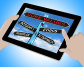 Core Values Tablet Means Integrity Ethics Principals And Account — Stock Photo