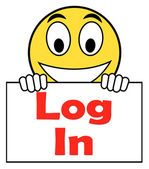 Log In Login On Sign Shows Sign In Online — Stock Photo
