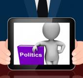Politics Book And Character Displays Books About Government Demo — Stock Photo