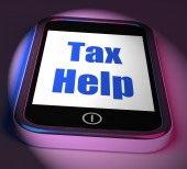 Tax Help On Phone Displays Taxation Advice Online — Stock Photo
