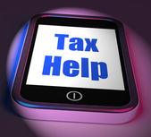 Tax Help On Phone Displays Taxation Advice Online — Zdjęcie stockowe