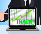 Trade Chart Graph Displays Increasing Trade Or Trading — Stock Photo