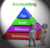 Accounting Pyramid Means Paying Taxes Auditing Or Bookkeeping — Stock Photo
