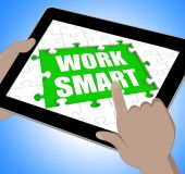 Work Smart Tablet Means Employee Productivity And Efficiency — Stock Photo