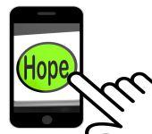Hope Button Displays Hoping Hopeful Wishing Or Wishful — Stock Photo