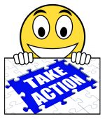 Take Action Sign Shows Motivate To Do Something — Stock Photo