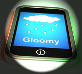 Gloomy On Phone Displays Dark Grey Miserable Weather — Stock Photo