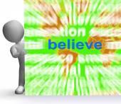 Believe Word Cloud Sign Shows Accepting Idea Faith Trust — Stock Photo