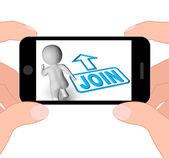 Join And Running 3D Character Displays Joining Membership Regist — Stock Photo
