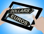 Dollars Euros Tablet Shows Foreign Currency Exchange — Stock Photo