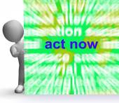 Act Now Word Cloud Sign Shows Inspired Activity — Stock Photo