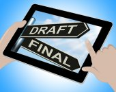 Draft Final Tablet Means Writing Rewriting And Editing — Stock Photo