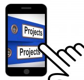 Projects Folders Displays Tasks Planning And Ventures — Stock Photo