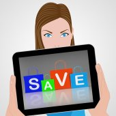 Save Shopping Bags Displays Promo and Buying — Stock Photo