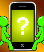 Question Mark On Phone Displays Help Confused And Doubt — Stock Photo