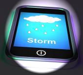 Showers On Phone Displays Rain Rainy Weather — Stock Photo
