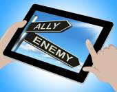 Ally Enemy Tablet Shows Friend Or Adversary — Stock Photo