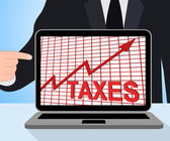 Taxes Chart Graph Displays Increasing Tax Or Taxation — Zdjęcie stockowe