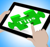 Tips Tablet Shows Online Suggestions And Pointers — Stock Photo