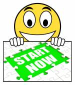 Start Now Sign Means Begin Immediately Or Don't Wait — Stock Photo